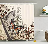 Ivory Shower Curtain Butterflies Decoration by Ambesonne, Harp Ornament and Butterflies Classic Musical Instrument Concert Image, Fabric Bathroom Shower Curtain Set, 75 Inches Long, Brown Ivory Black