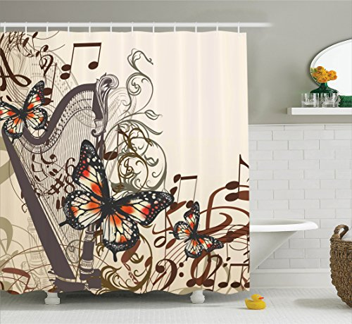 Ambesonne Ivory Shower Curtain Butterflies Decoration by, Ha