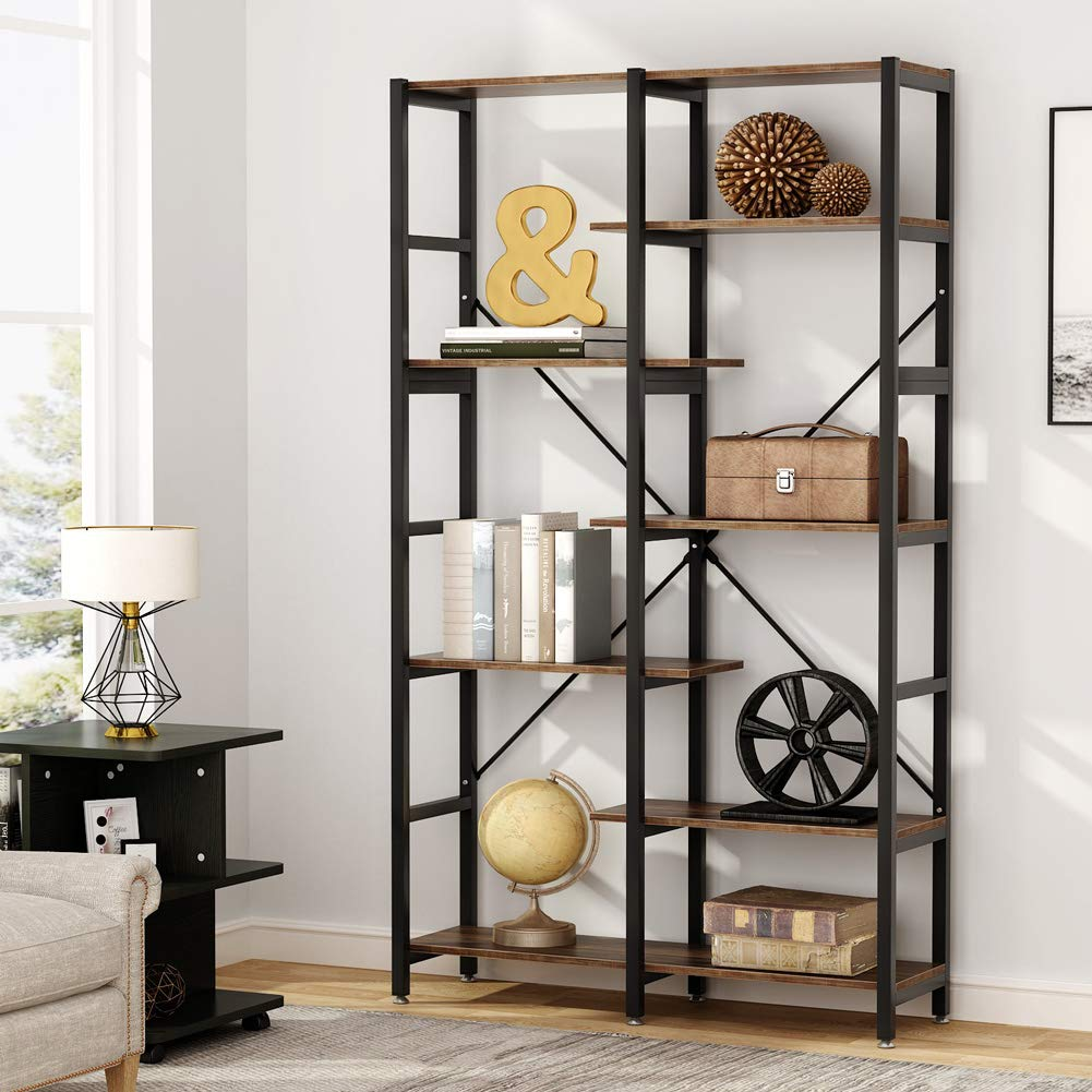 Tribesigns 7-Shelf Vintage Bookshelf, Industrial Staggered Etagere Bookcase, Wood and Metal Book Shelves Display Organizer for Home Office by Tribesigns