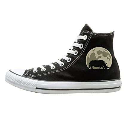 13771670b1e9 Rhino On The Moon Fashion Canvas Shoes Sneakers Men s Women s High Top  Casual Shoes for Fitness