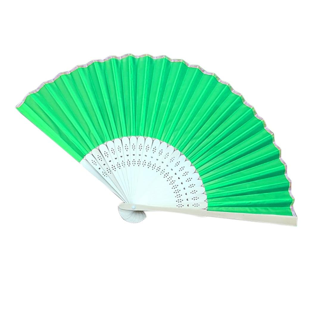 Sonmer Chinese Style Hand Held Fan, Bamboo Silk Folding Fan, for Party Wedding Decor (Green)