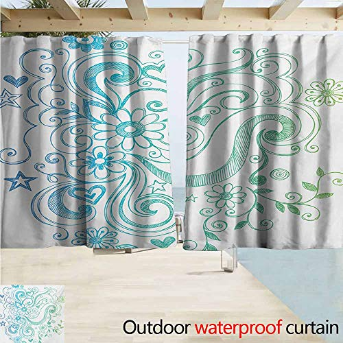 Zmacdk Flowers Curtains for Living Room Rainbow Colored Ombre Sketch Design with Florals Blossom Ivy Leaves Perfect for Your Patio, Porch, Gazebo, or Pergola W55 xL45 Blue White Turquoise Green