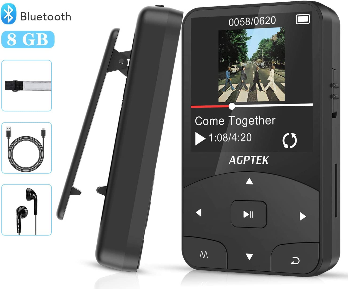 AGPTEK Reproductor MP3 Bluetooth Running, A58 HiFi Reproductor de Música 8GB con Podómetro, Radio FM, Grabación de Voz, E-Book, Soporta TF hasta 128GB, Negro