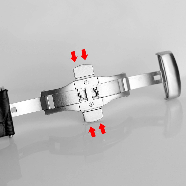 Cinturino per orologio da uomo in pelle di vitello 22 23 24 mm Brown No Clasp