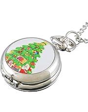 Souarts Silver Tone Color Christmas Quartz Analog Pocket Watch 84cm