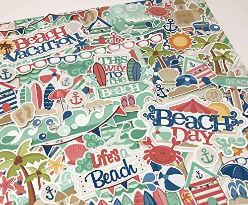 Life's a Beach - Die Cuts & Paper Set - by Miss Kate Cuttables - 16 Sheets of 12''x12'' Premium Specialty Paper & Over 60 Coordinating Die Cuts - Exclusive Original Matching Set