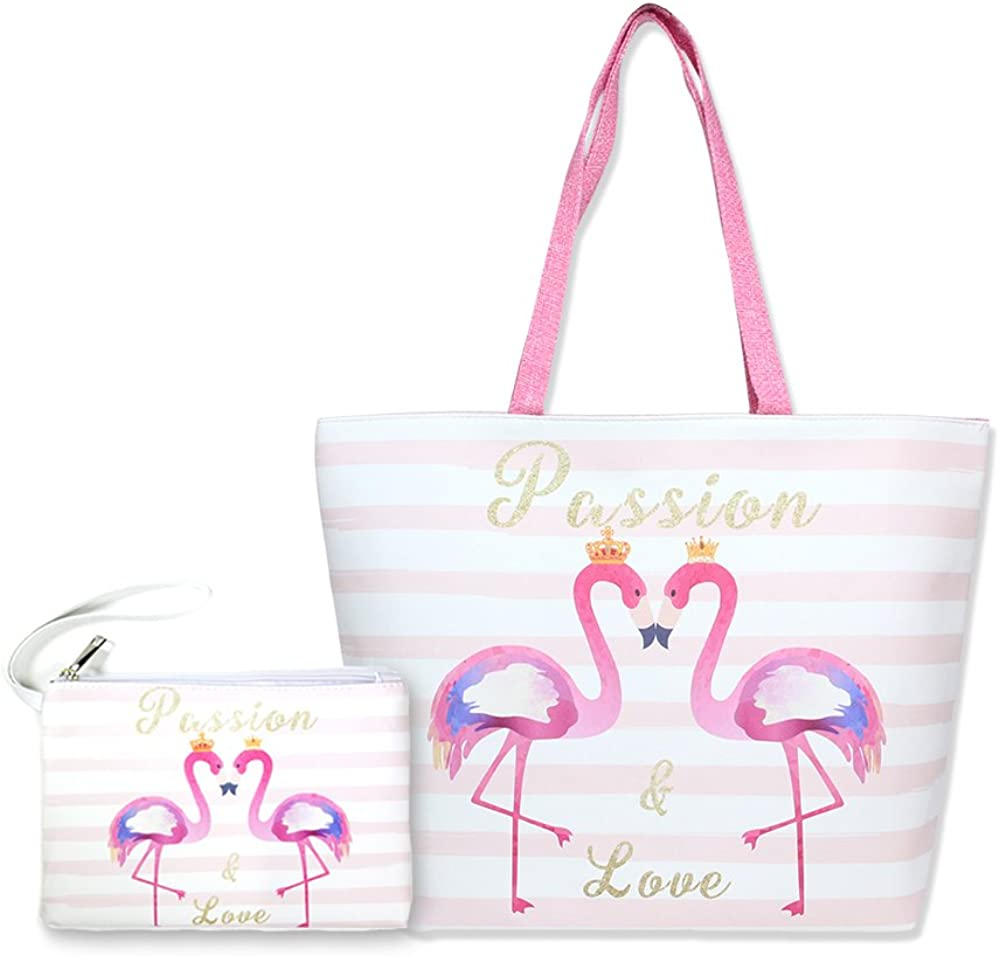 by you Women Summer Large Beach Tote Bag Travel Tote Bag Zipper Closure Shoulder Bag