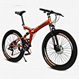 26 Inch/700CC 21 Speed Mountain Bike Folding Bike Cycling SHINING SYS Double Disc Brake Air Suspension Fork Aluminium Alloy Frame (Orange)