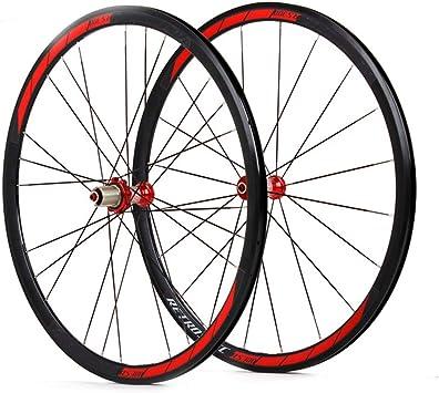 LYzpf Llantas Bicicleta Rueda Perfil Delantera Trasera Bici Rim Conjunto Camino 700C 4 Rodamientos Equipamiento,Red: Amazon.es: Deportes y aire libre