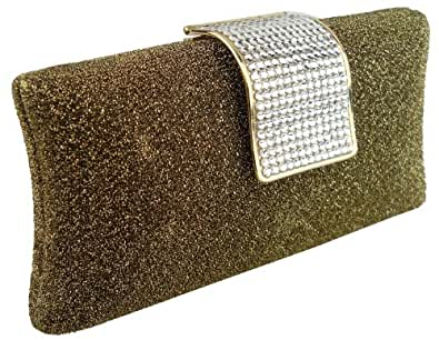 MG Collection Glitter Gold Yellow Rhinestone Closure Hard Case Evening Baguette