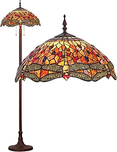 Bieye L11404-3 Dragonfly Tiffany Style Stained Glass Floor Lamp