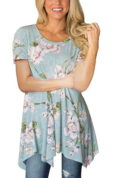 36e5b15fe9c XUERRY Women Short Sleeve Tunic Tops Loose Floral Print  Shirt(Short-Dusty/Blue