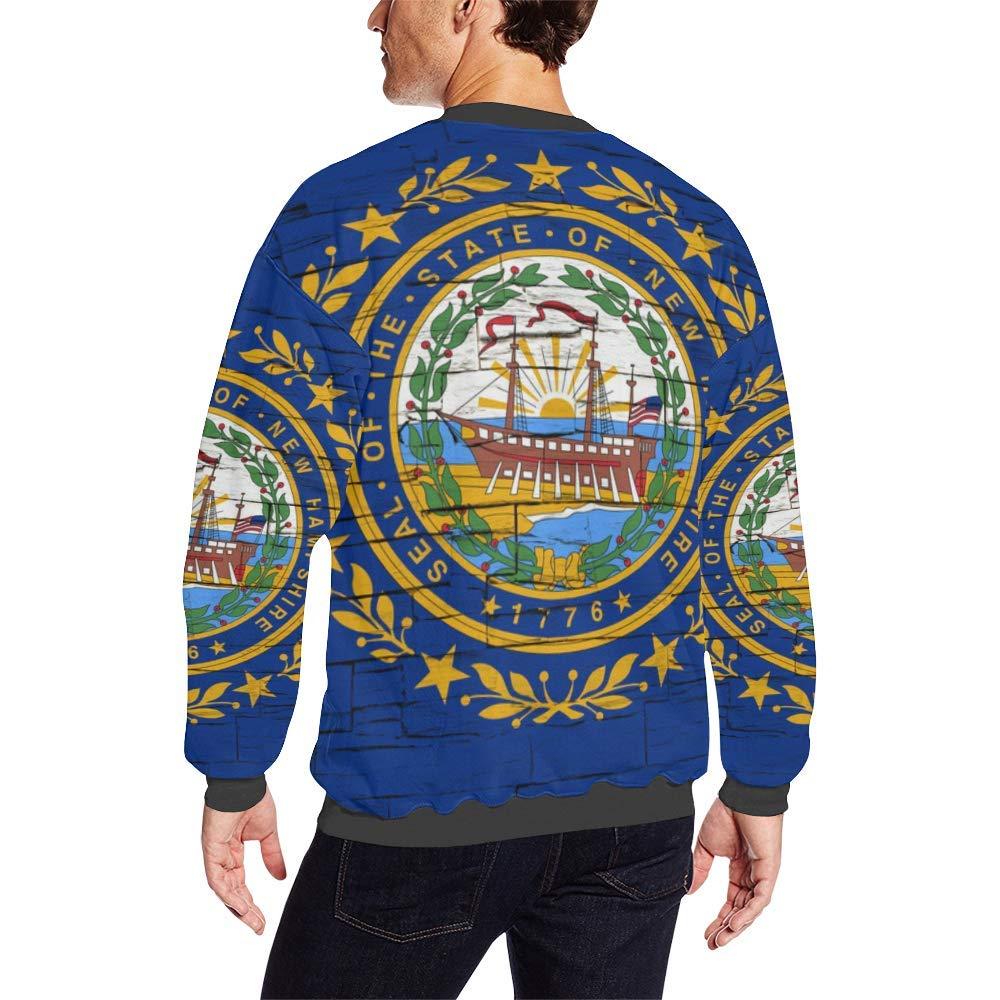 Hampshire Distressed Flag Mens Pullover Fuzzy Sweatshirt