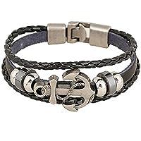 Handmade Retro Multilayer Punk Genuine Leather Bracelet Metal Anchor Bracelets Bangles For Men Male