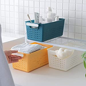 MineSign 3-Pack Plastic Storage Basket Bins Organizer Set with Handles For Classroom Home Office Shelves Bathroom Kitchen Pantry Food Beverage Vegetable Snack Toy Container Box, White/Yellow/Blue