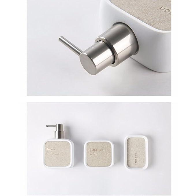 ZDDT Accesorios de baño, Hechos de Resina, con dispensador de jabón, Taza de Cepillo de Dientes, jabonera, Juego de baño de Lujo, para la decoración, ...