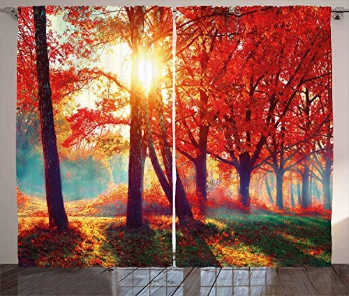 Ambesonne Tree Curtains, Autumnal Foggy Park Fall Nature Scenic Scenery Maple Trees Sunbeams Woods, Living Room Bedroom Window Drapes 2 Panel Set, 108 X 96 , Orange Yellow