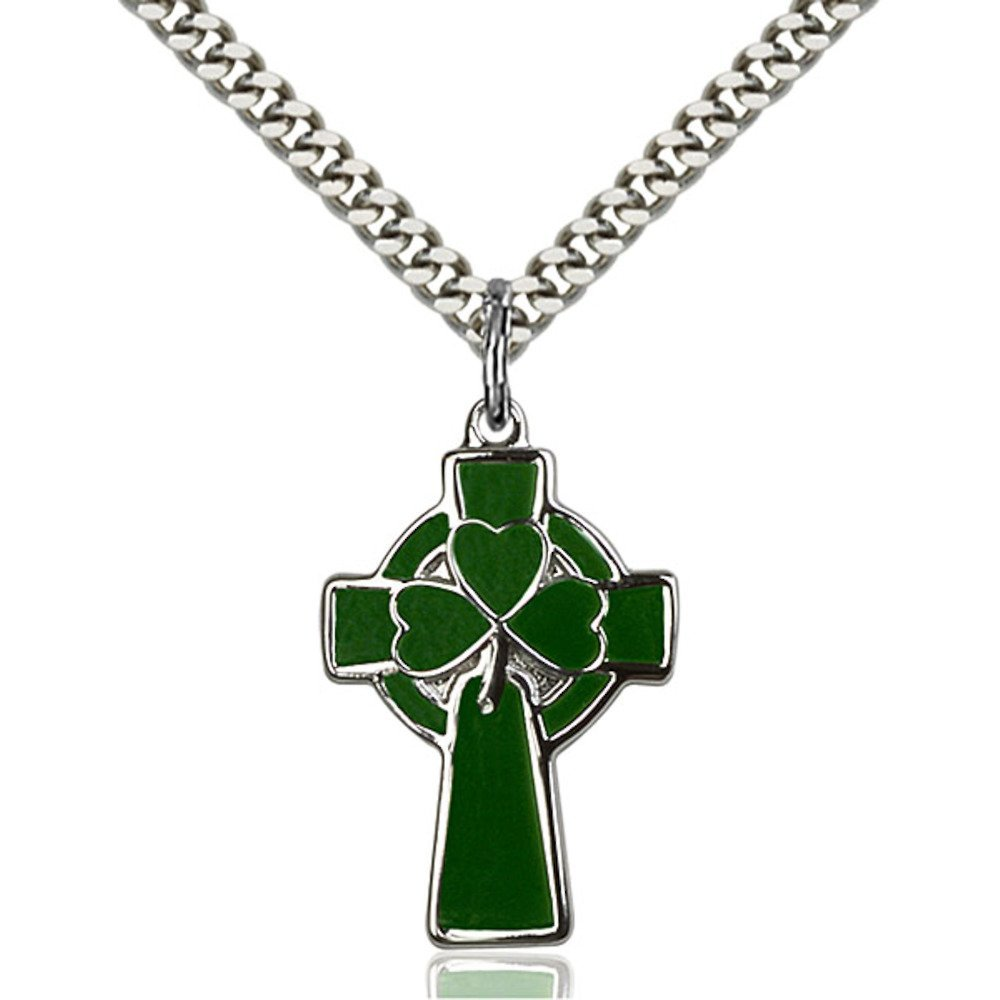Sterling Silver Celtic Cross Pendant 1 x 5/8 inches with Heavy Curb Chain Bliss Manufacturing 5693SS/24S