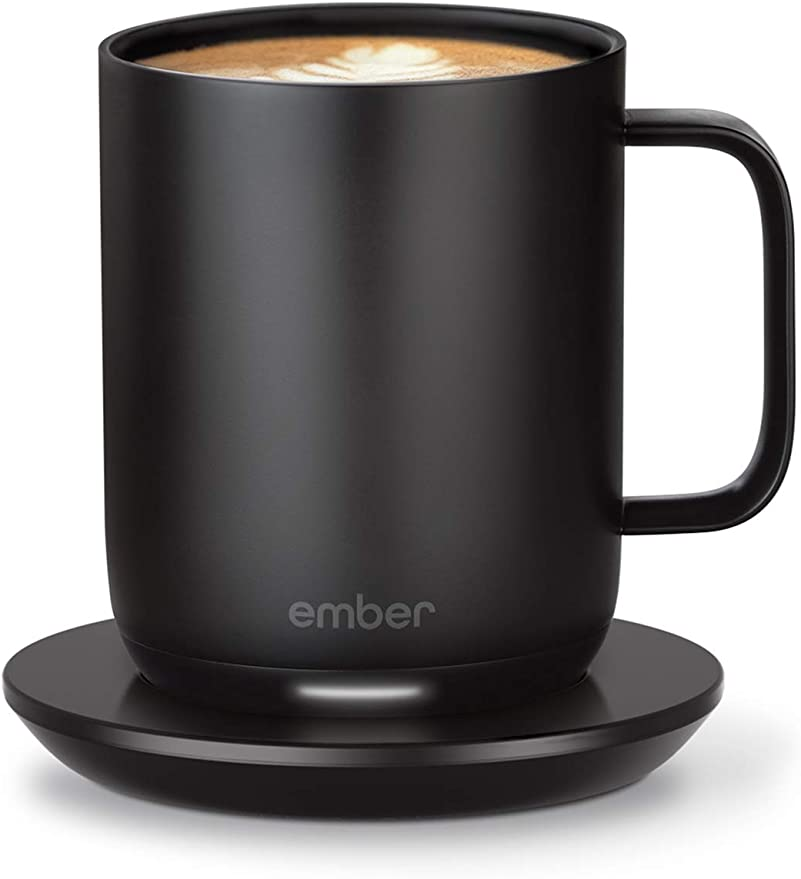 Temperature and App Controlled Ceramic Mug USB Heated Ember White 10 oz