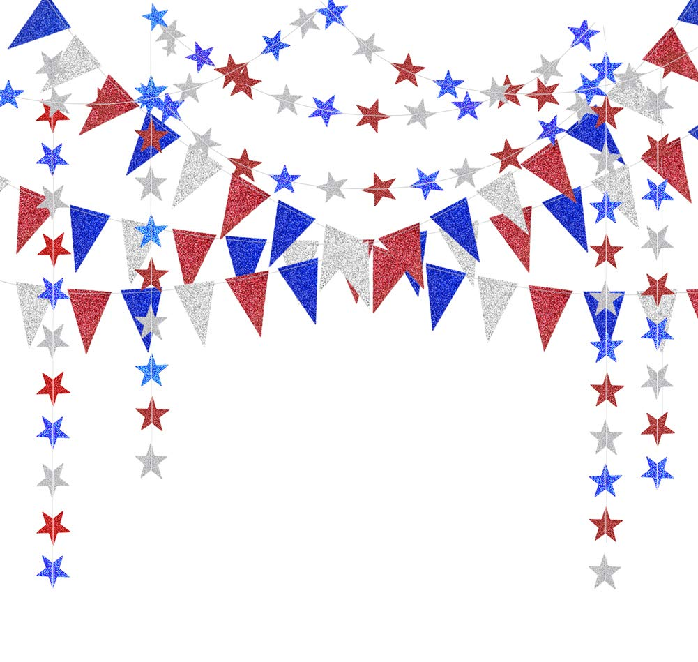 Red Blue White/Silver Star Garland and Triangle Pennant Banner Kit for 4th/Fourth of July USA America Independent Day Celebration Decor Party Hanging Decoration for Bithday/Wedding/Home/Cavinal/Home