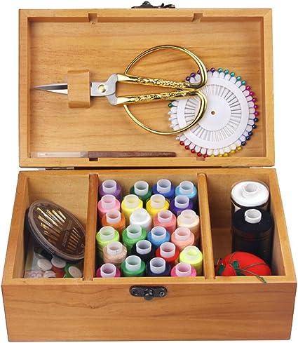 OUNONA Kit de costura retro de madera con accesorios de ...