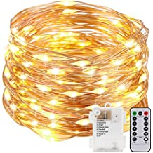 Kohree String Lights LED Copper Wire Fairy Christmas Light with Remote Control, 20ft/6M 60LEDs, AA Battery Powered, Seasonal Decor Rope Lights for Holiday, Wedding, Parties, Waterproof Battery Box