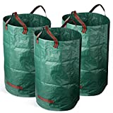 Firlar 32 Gallons Garden Waste Bag,Collapsible Reusable Gardening Containers Yard Environment-Friendly Bag Portable Gardening Bags for Yard Garden Lawn Size 3 Pack
