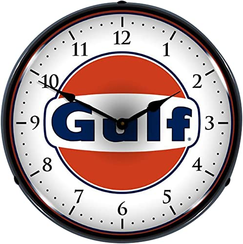 Collectable Sign and Clock 710057 14 Gulf Lighted Clock