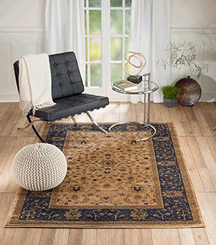 Summit S78 Venice Blue beige Distressed Vintage Retro style Area Rug Modern Abstract Rug Many Sizes Available  (5′ x 7′)