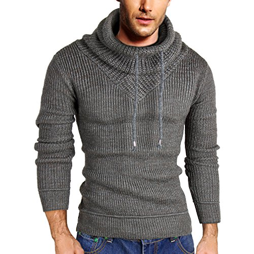 HEMOON Men's Thick Knit Pullover High Collar Sweater Winter Thermal Jumper Grey M