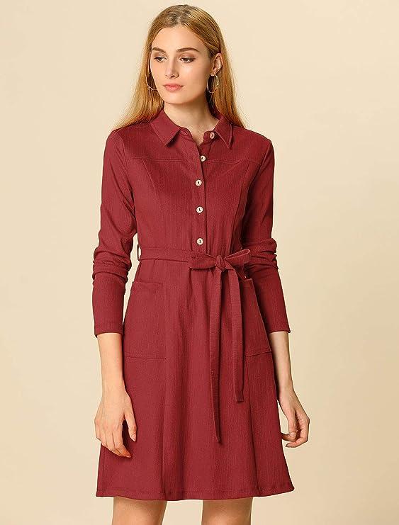 Allegra K Women's Half Placket Long Sleeve Casual Shirt Dress with Belt M Dark Blue
