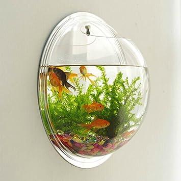 Anself Pecera colgante montado en la pared tanque de peces burbuja tazón de acuario moderno de la decoración del hogar: Amazon.es: Hogar