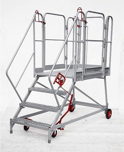 XXL Plataforma de escaleras – Rejilla niveles – 4 niveles, plataforma de altura 920 mm – Trabajo de podio