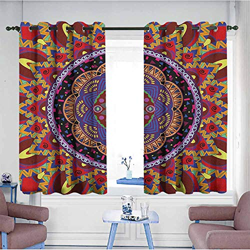 (AndyTours Kids Curtains,Mandala Vintage Style Wedding Invitation Card with Mandala Motif Flower Illustration,for Bedroom Grommet Drapes,W63x45L Maroon and Red)