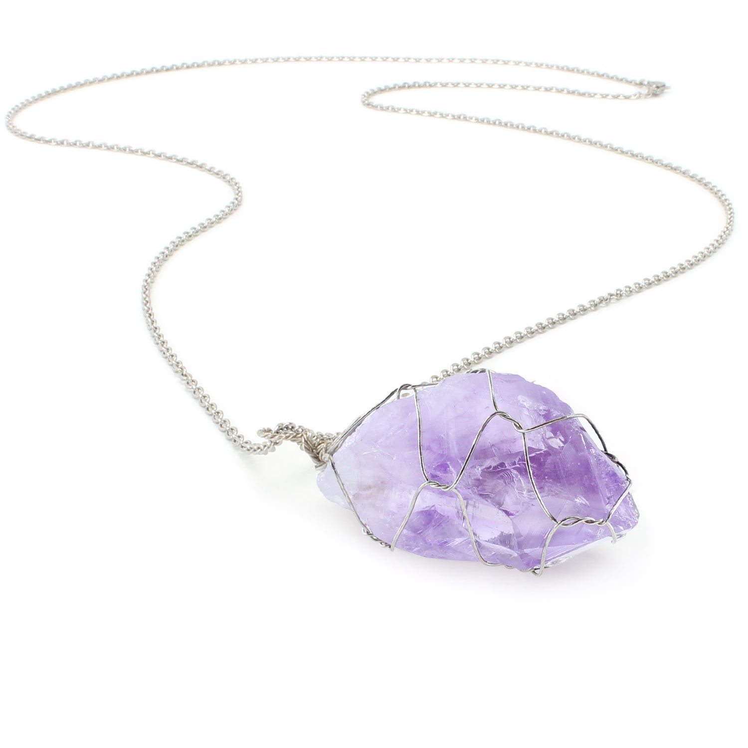 BOUTIQUELOVIN Purple Amethyst Quartz Stone Healing Crystal Pendant Necklace 30'' Long Silver Chain