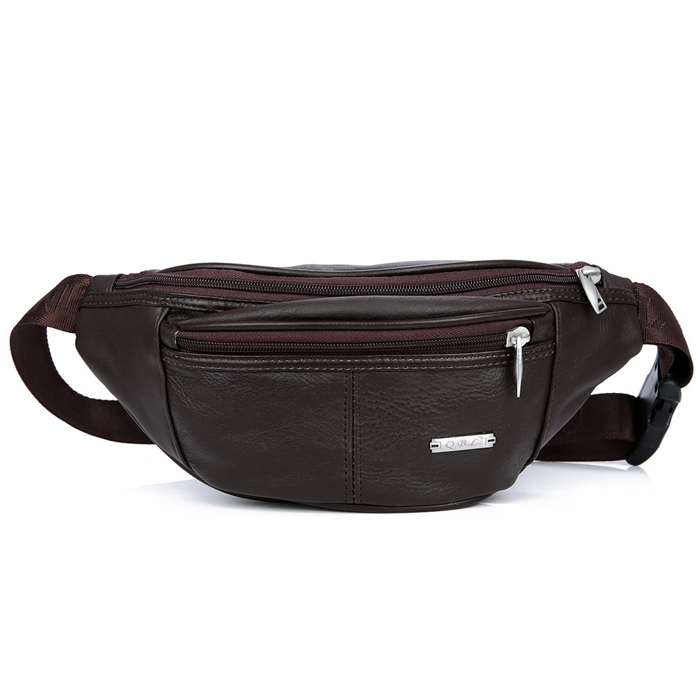 スリムパターン本革ウエストバッグ、牛革スポーツバッグ、ウエストパックFannyバッグクロスボディバッグ、レトロバックパック、財布ポーチ旅行ハイキングBum Bag B074W4SSRJ  ブラウン