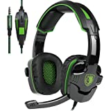 SADES SA-930 3.5mm Gaming Headsets with Microphone Noise Cancellation Music Headphones - Black/Green (Electronic Games)