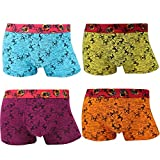 THSISSUE Men's Underwear 4-Pack Breathable Extra Soft Ultra-Thin Printing Modal Boxer Briefs (Small,Model 1)