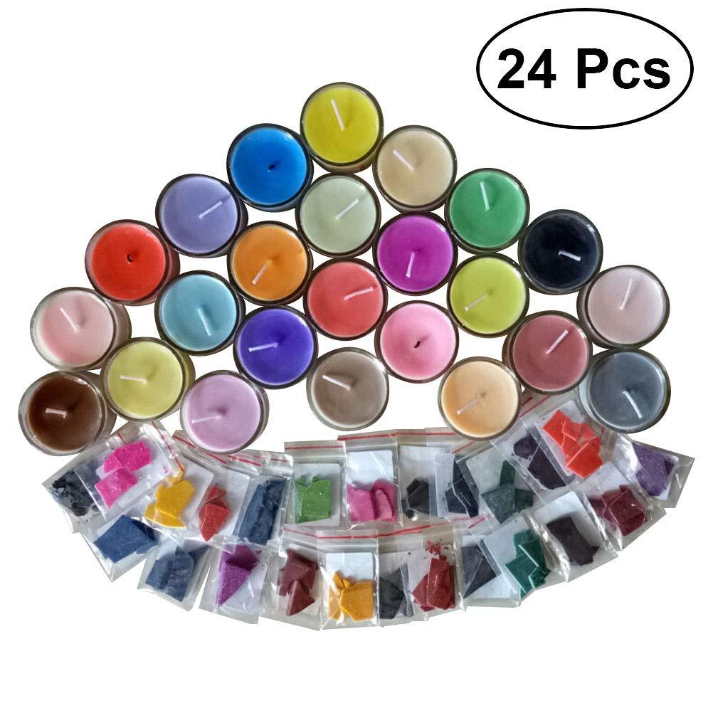 SUPVOX Fai da te candela di cera tintura 24 colori trucioli per candele aromaterapia fai da te naturale cera di soia candela colorante per fare candele profumate (candele non incluse)