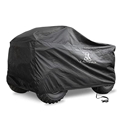 X AUTOHAUX Waterproof All Weather Protector Quad ATV Cover 4 Wheelers Cover Universal Fit Black with Silver Coating Inside M Size (57 x 33.5 x 38.6 Inch): Automotive