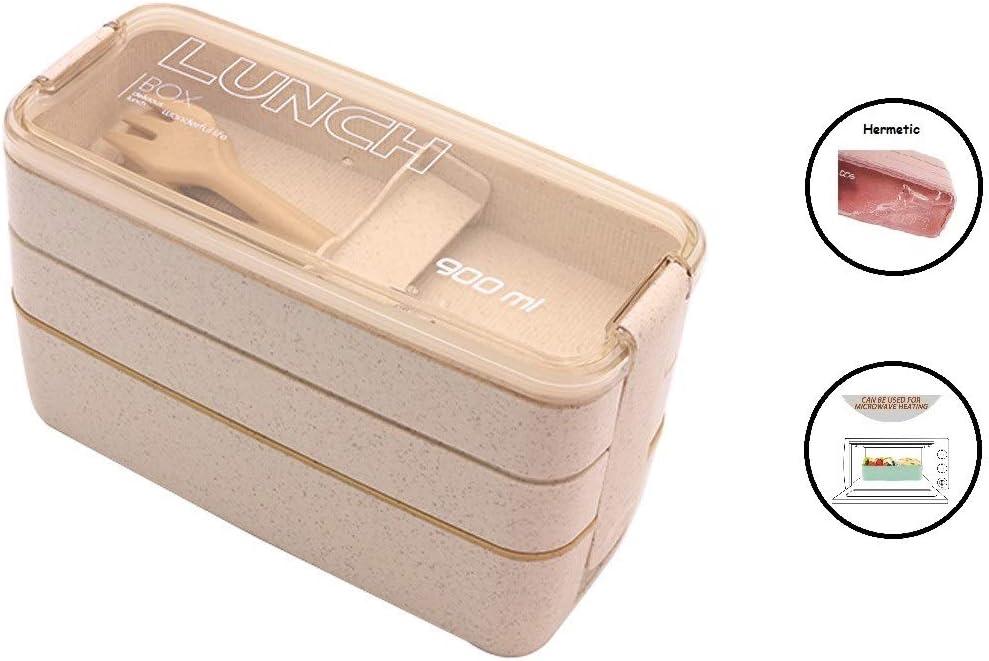 Tuppers Ecologicos con Compartimentos ♻ Bento Box con Cubiertos ...