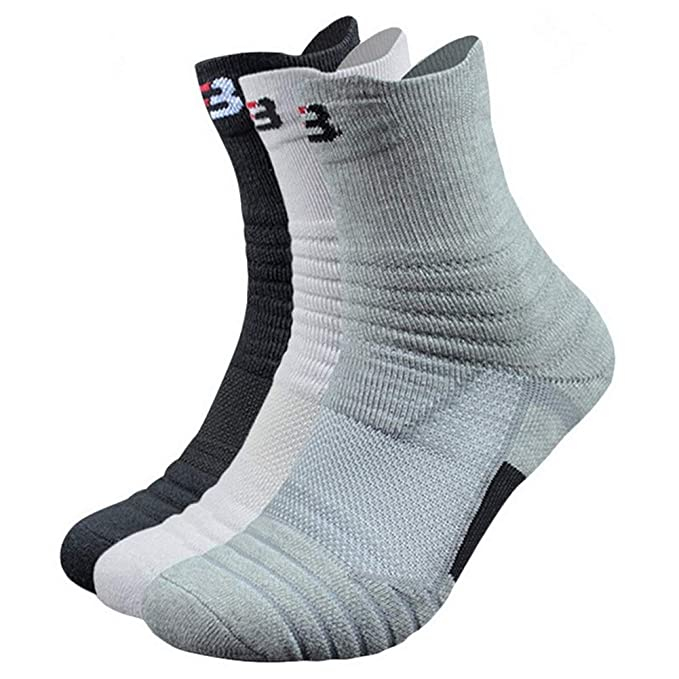323930b56 3 Pairs Mens Athletic Crew Socks Compression Cotton Sock for Badminton  Running Hiking Sports Socks: Amazon.ca: Clothing & Accessories