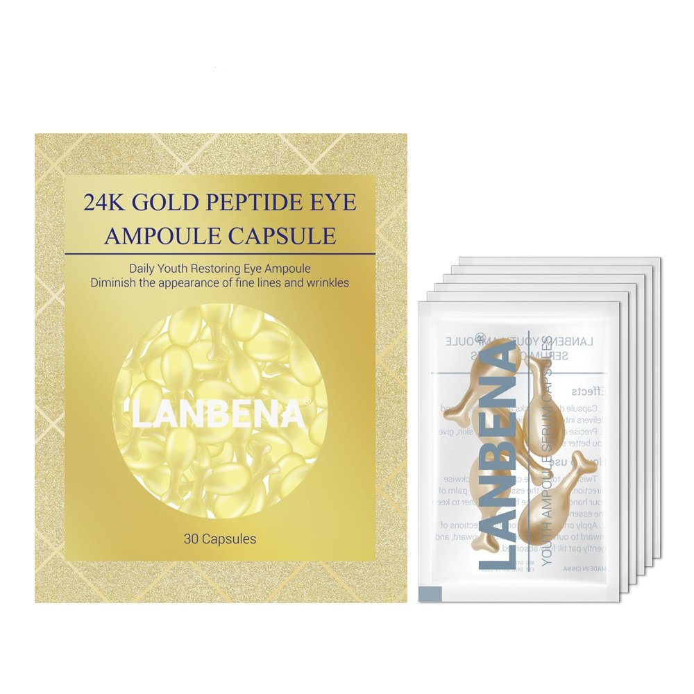 Anti-Aging Eye Serum Beauty and Skin Care Capsule 24K Gold Peptide Wrinkles Eye Ampoule Capsule Eye Serum Fine Lines Dark Circle Eye Patches- 30 capsules by LANBENA (Image #1)