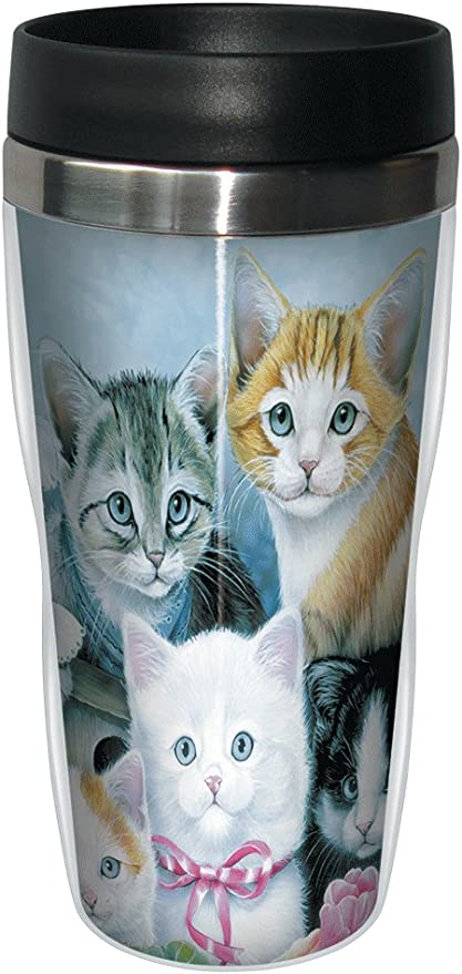 Cuddly Kittens Travel Mug Stainless Lined Coffee Tumbler 16 Ounce Cute Gift For Cat And Kitty Lovers Tree Free Greetings Cat Tree Kitchen Dining