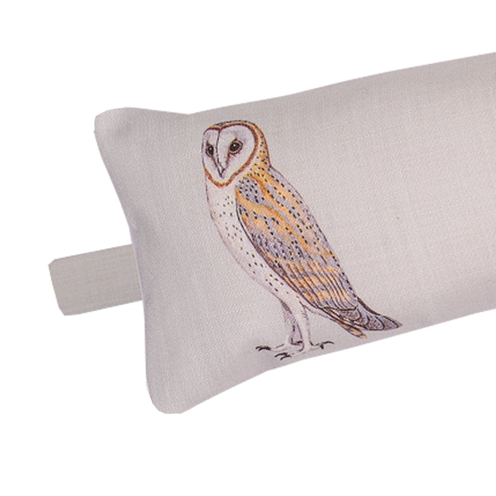 Luxury Draught Excluder - Linen Union - Pebble Grey Vintage Owls - Designed Printed & Handmade in the UK Izabela Peters