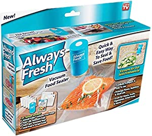 Always Fresh Seal Vac AFFS-TV, Vacuum Food Sealer with 6 Reusable Bags, 2 x 2 x 3.5 inches, Blue