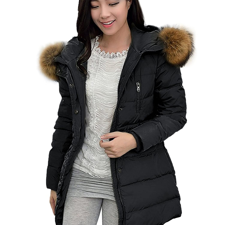 Damen Winter Jacke mit Fellkapuze Damen Parka Winter Mantel Damenmantel Lang