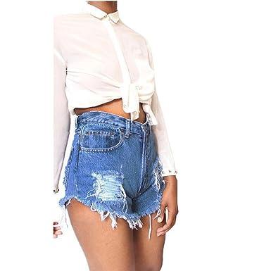 bb763c6a2f Mujeres De Cintura Alta con Flecos Casual Denim Pantalones Cortos Mujer  Básicos Gimnasio Pantalones Cortos Mujer