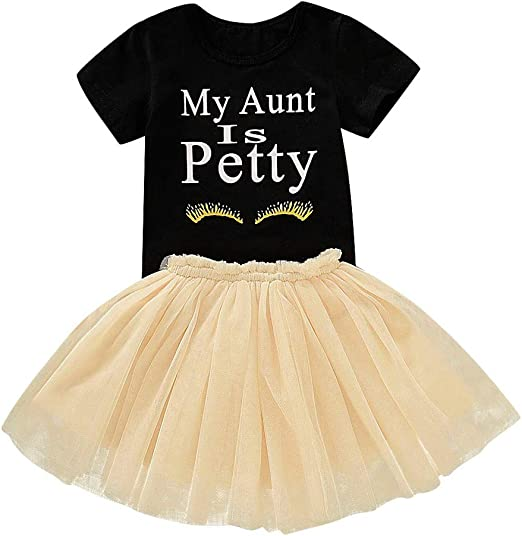 US Toddler Kid Baby Girl Lace T-shirt Tulle Tutu Skirt Party Birthday Outfit Set