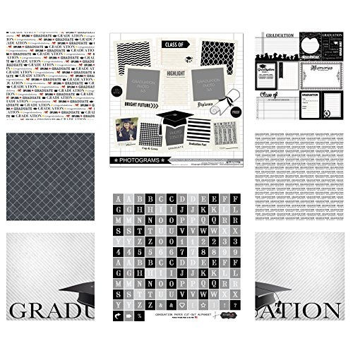 Grade Scrapbook Paper (Scrapbook Customs 17587 Themed Paper & Stickers Scrapbook Kit, Graduation)